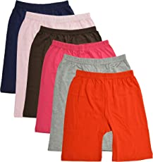 BODYCARE Pure Cotton Plain Multi-Coloured Cycling Shorts for Girls & Kids (73C-Packof6)