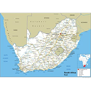Südafrika Karte.Südafrika Road Mauer Karte Papier Laminiert Ga A2 Size 42 X 59 4