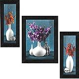 SAF UV Textured Flower Print Framed Art Print Painting Set of 3 for Home Decoration – Size 35 x 2 x 50 cm SANFSA7479