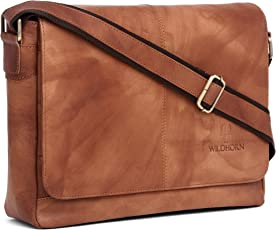 WildHorn Leather and Nylon Laptop Messenger Bag (Brown)