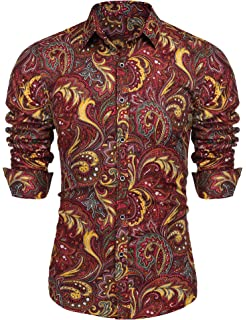 Alion Mens Business Dress Shirt Slim Fit Long-Sleeve Casual Floral Button Down Shirt