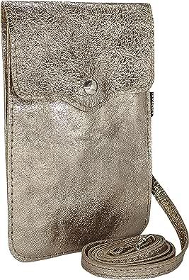 SKUTARI® LEDER MAIDA BRILLANTE Damen Handytasche | aus hochwertigem Leder | Umhängetasche | Handy Mini-Tasche | Geldbörse | Lederhandytasche | MADE IN ITALY