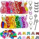 AMETUS 32 PCS Doll Accessories, 10x Mix Cute Dresses, 10x Shoes, 4X Glasses, 6X Necklaces, 2X Fairy Sticks Dress Clothes for