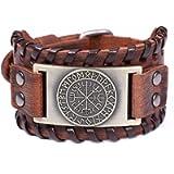 TEAMER Norse Vikings Runes Amulet Leather Bracelet Icelandic Vegvisir Symbol for Luck and Blessings