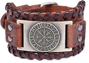 Lemegeton Bracciale largo da uomo con rune nordiche, in pelle, stile vintage, vichingo