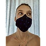 Mascherina Unisex Lavabile 100% cotone nero e strass colorati