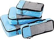 AmazonBasics Kleidertaschen-Set, 4-teilig, je 1 kleine, mittelgroße, große und schmale Packtasche, Himmelblau