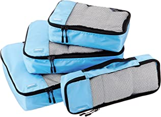 AmazonBasics Packing Cubes/Travel Pouch/Travel Organizer - Small, Medium, Large, and Slim, Sky Blue (4-Piece Set)