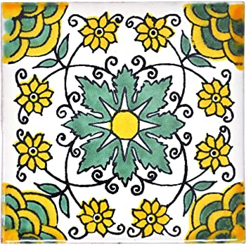 5cm Handmade and Ethically Traded by Tumia LAC Ceramic Mexican Tile 25 Pack