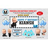 WoW Party Studio Personalized Boss Baby Theme Happy Birthday Party Decorations Supplies with Birthday Boy/Girl Name & Age - C