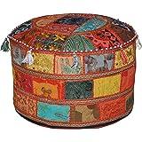 Marubhumi Traditionele decoratieve Ottomaanse comfortabele vloerkussens kruk met versiering met borduurwerk & patchwork, 58 x