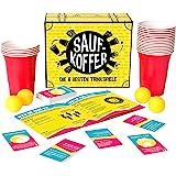 Gutter Games Saufkoffer - Die 8 besten Trinkspiele (Bier Pong, Noch nie Habe ich, Ring of Fire und mehr)   Partyspiel für Erwachsene - ideal für das Vorglühen und den Spieleabend