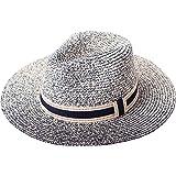 RIONA Donne Cappello Tesa Larga Elegante Cappello Protezione UV Paglia da Cappello della Spiaggia Protezione Solare Cappello