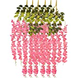 Tdas Artificial Decorative Flowers Hanging Bunch Creepers Garlands Leaves (Dark Pink, 6 Pieces,110 CM Each )