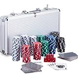 Relaxdays Poker Set, 300 Fiche, 2 Mazzi di Carte, 5 Dadi, Dealer Button, Valigetta in Alluminio richiudibile, Argento…