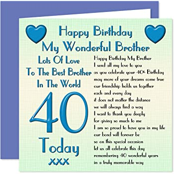 Brother 40th Happy Birthday Card