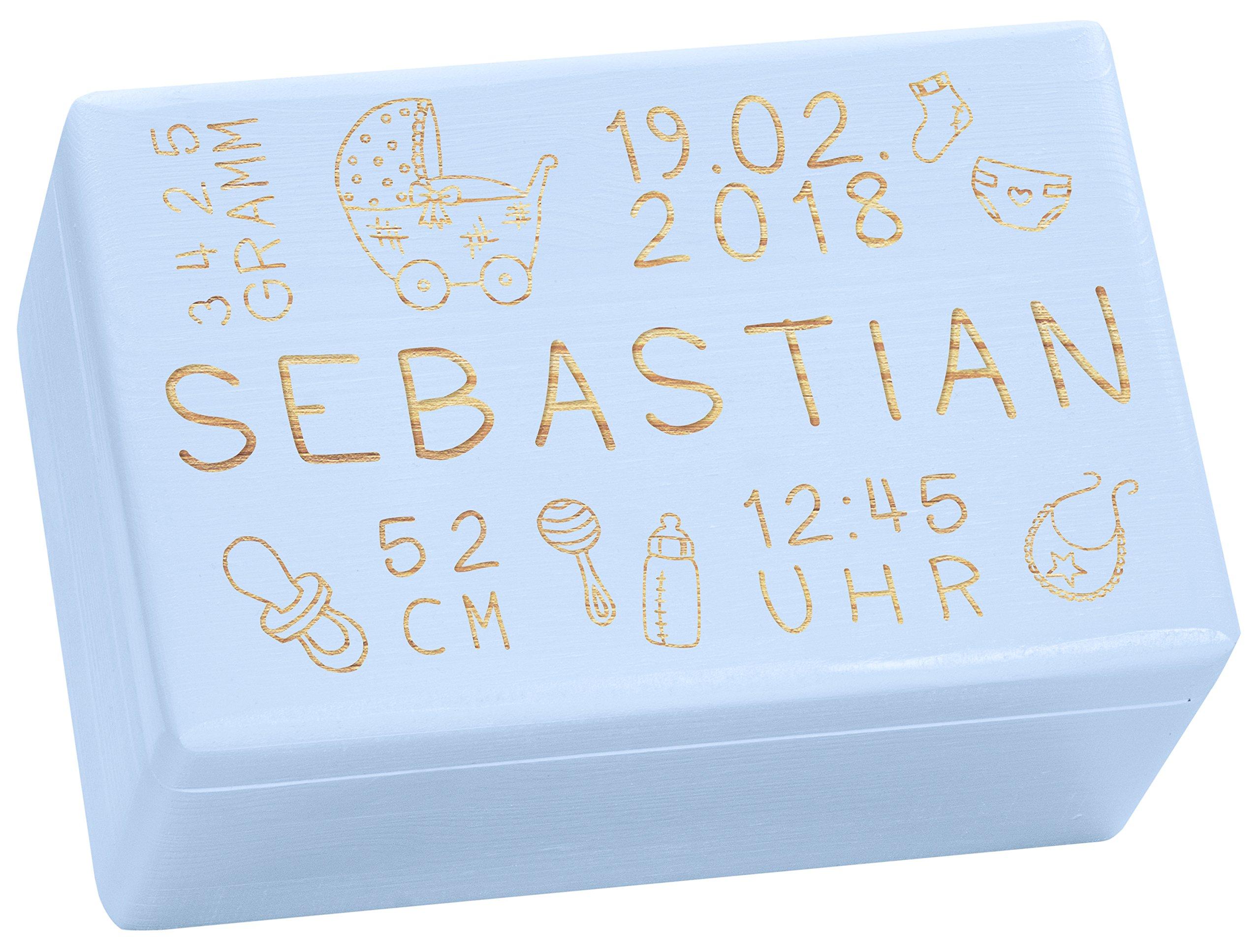 Holzkiste mit Gravur - Personalisiert mit ❤ GEBURTSDATEN ❤ - Blau, Größe M - Rassel Motiv - Erinnerungskiste als Geschenk zur Geburt - LAUBLUST® 13