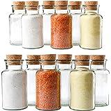 Mambocat Lot de 12pots réutilisables en verre, capacité: 300ml, verres ronds avec bouchon en liège, haute qualité, pour conserver les épices, le thé, les herbes