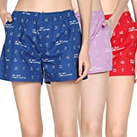 The Cotton Company 100% Cotton Women's Shorts (Pack of 3) - Pirate Ship Print