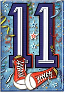 Die Cut Number 11 with Purple Foil Border Age 11 11th Birthday Card
