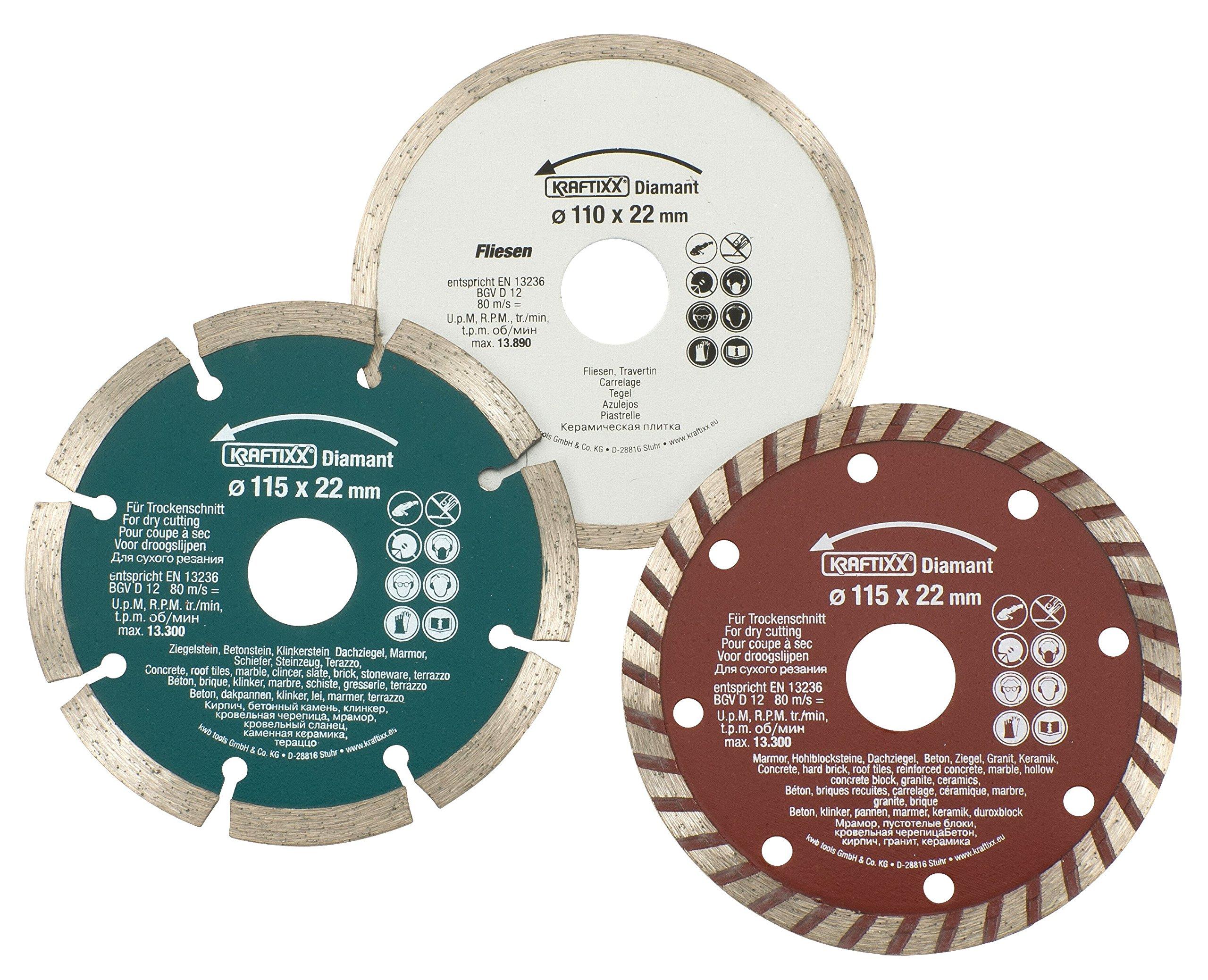 Einhell 49797090 Set 3 discos corte diamante 115/110 x 22, Piezas