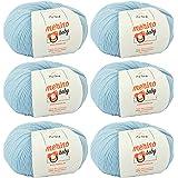 Babywolle zum Stricken weich - Merino Baby Babyblau (Fb 6030) - 6 Knäuel Babywolle blau + GRATIS Label – Baby Wolle Stricken - 25g/140m – Nadelstärke 2,5-3mm – 100% Merinowolle Baby – Babywolle blau