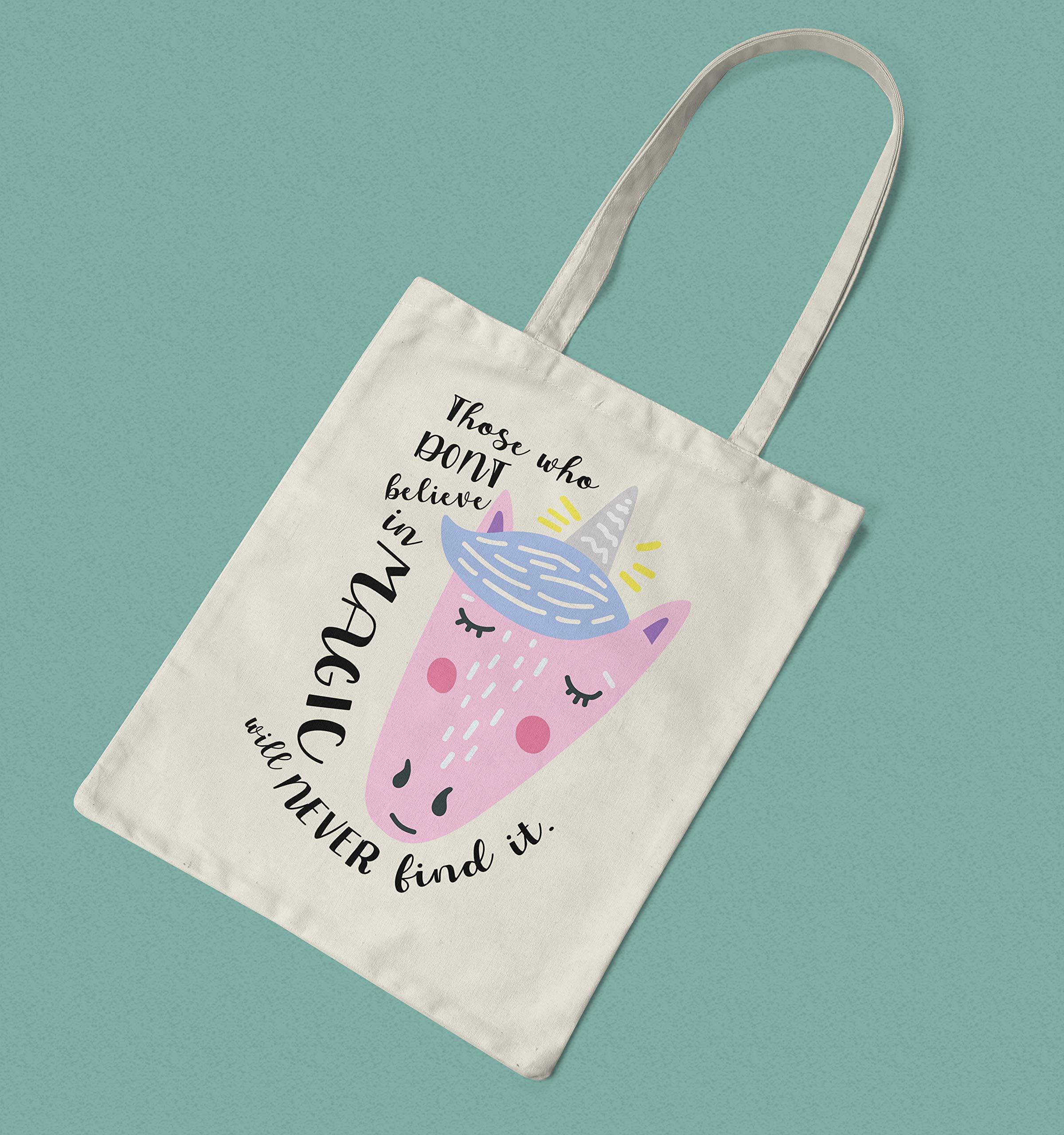 Unicorn Bag - Long Handled Reusable Cotton Shopper - handmade-bags