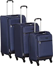 AmazonBasics Set of 3 (53 cm + 64 cm + 74 cm) Navy Blue Softsided Trolleys
