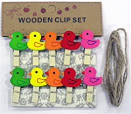Cloud 9 Small 10 Piece Mini Wooden Clips pegs 1 inch (25 mm) x .16 inc ((4 mm) for Decoration, Art, Hanging Pictures, Photographs, Light Weight Toys, Arts(Duck Shape)