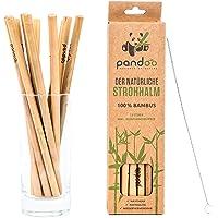 pandoo   Lot de 12 pailles en bambou 20 cm   Goupillon de nettoyage inclus   sans BPA - Pailles à boire réutilisables et…