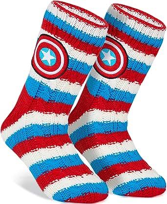 Marvel Capitan America Calze Antiscivolo A Pantofola Per Uomo, Calzini Caldi In Pile, Taglia Unica, Regali Uomo