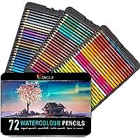 Zenacolor 72 Crayons aquarellables avec Pinceau et Malette Dessin Métal Boite de Crayons de Couleurs - Solubles, Uniques…