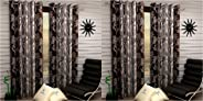 Fashion String 2 Pieces Window Curtain Set, 5 feet Long,Brown & 2 Pieces Door Curtain Set, 7 feet Long,Brown Combo