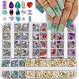 6 Dozen 3D Mix-vorm Nail Art Diamanten Strass, EBANKU Nagel Parel Kristallen Kralen, Big Gem Nageljuwelen Studs Metalen Klink