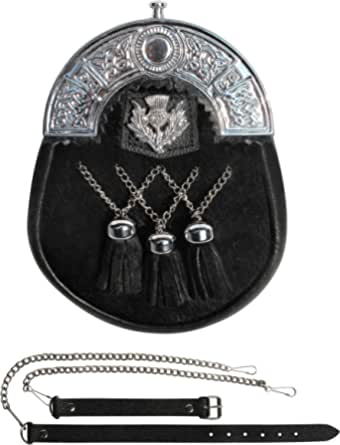 Leather sporran scottish highland wear celtic chain belt kilt accessories