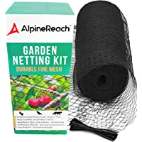 AlpineReach Garden Netting Kit 2m x 20m - Protect Plants Fruits Flowers Trees - Black Woven Mesh Heavy Duty - Stretch Fencing Durable Net with Cable Ties Fine Cover Gift Box Stops Birds Deer Animals