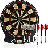 com-four® Elektronische Dartscheibe, kabelloses Dartboard mit 6 Softdarts & Ersatzspitzen, e-Dartautomat mit 18 Spielen…