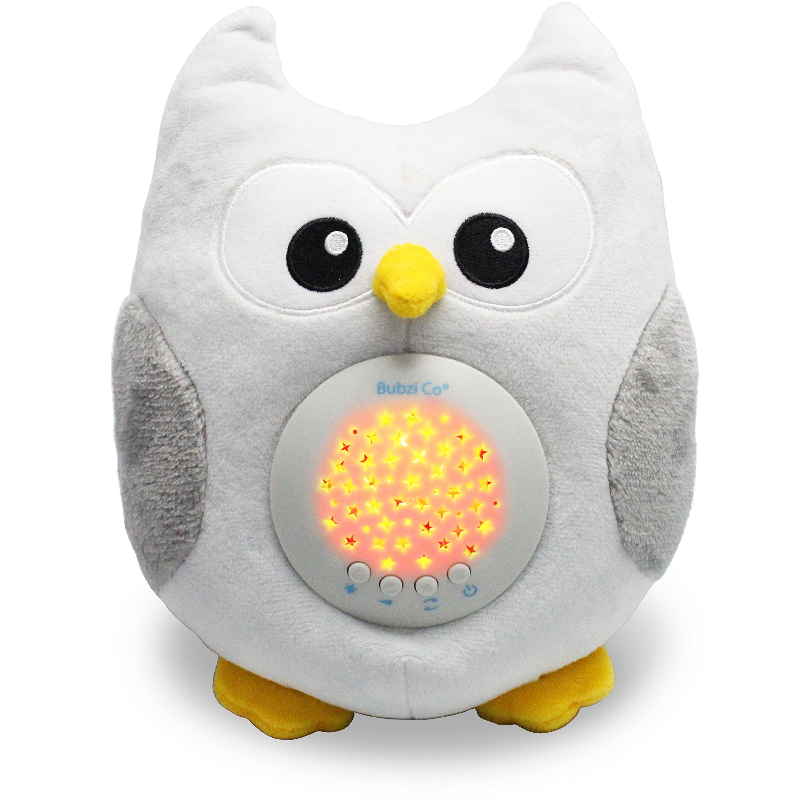 Bubzi Co Ruido Blanco Baby Sleep Luz de noche & Aparato de sonido para calmar & Regalo para Bebé, Proyector Estrella de LED & Búho de peluche con 10 canciones populares & Música niños juguete de felpa