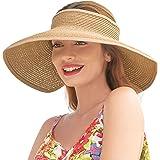 Women Sun Visors Wide Brim Foldable Packable Roll Up Ponytail Beach Hat Straw Visor Sun Hats