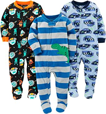 Simple Joys by Carter's 3-Pack Loose Fit Flame Resistant Fleece Footed Pajamas Bimbo 0-24, Pacco da 3