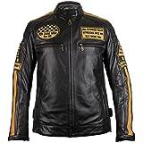 MDM Chaqueta retro de piel auténtica para motociclista.