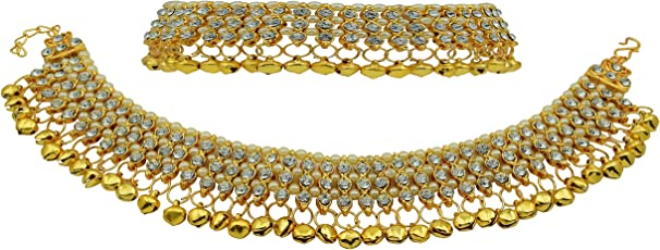 High Trendz Designer White Pearl And Golden Ghungroo Payal/Anklet For Women And Girls