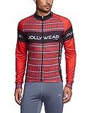 Jolly Wear Herren Fahrrad Langarmtrikot für die Übergangzeit Tweed, Rot, XXXL,