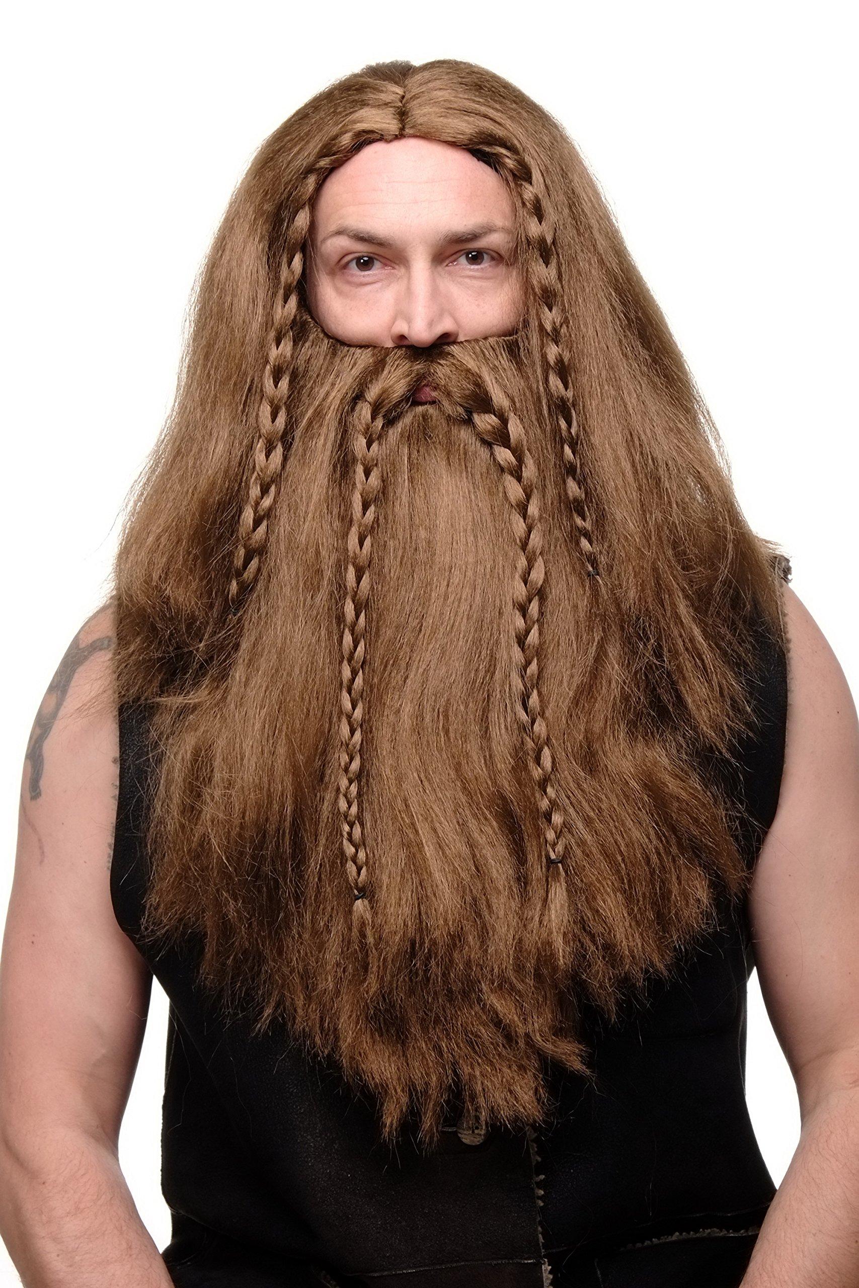 Wig Me Up – Peluca y barba para hombre, carnaval, vikingo, vikingo, enanito largo, trenzado, RJ033