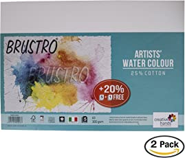 Brustro Artists' Watercolour Paper 300 GSM A3-25% cotton, CP 2 Packets (Each Packet Contains 5+1 sheet)