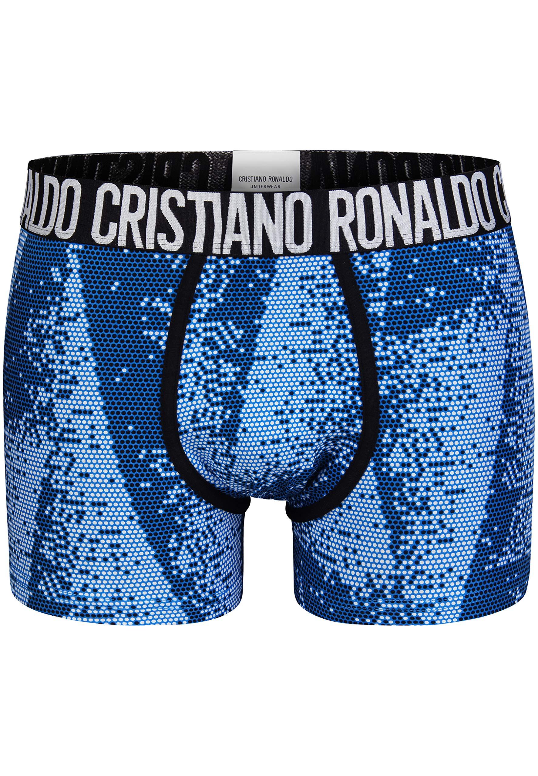 CR7 Cristiano Ronaldo – Fashion – Bóxers para Hombre a la Moda – Pack de 2 – Blanco/Azul – Tamaño M | 5 | 50 (CR7-JBS-8302-49-529-M)