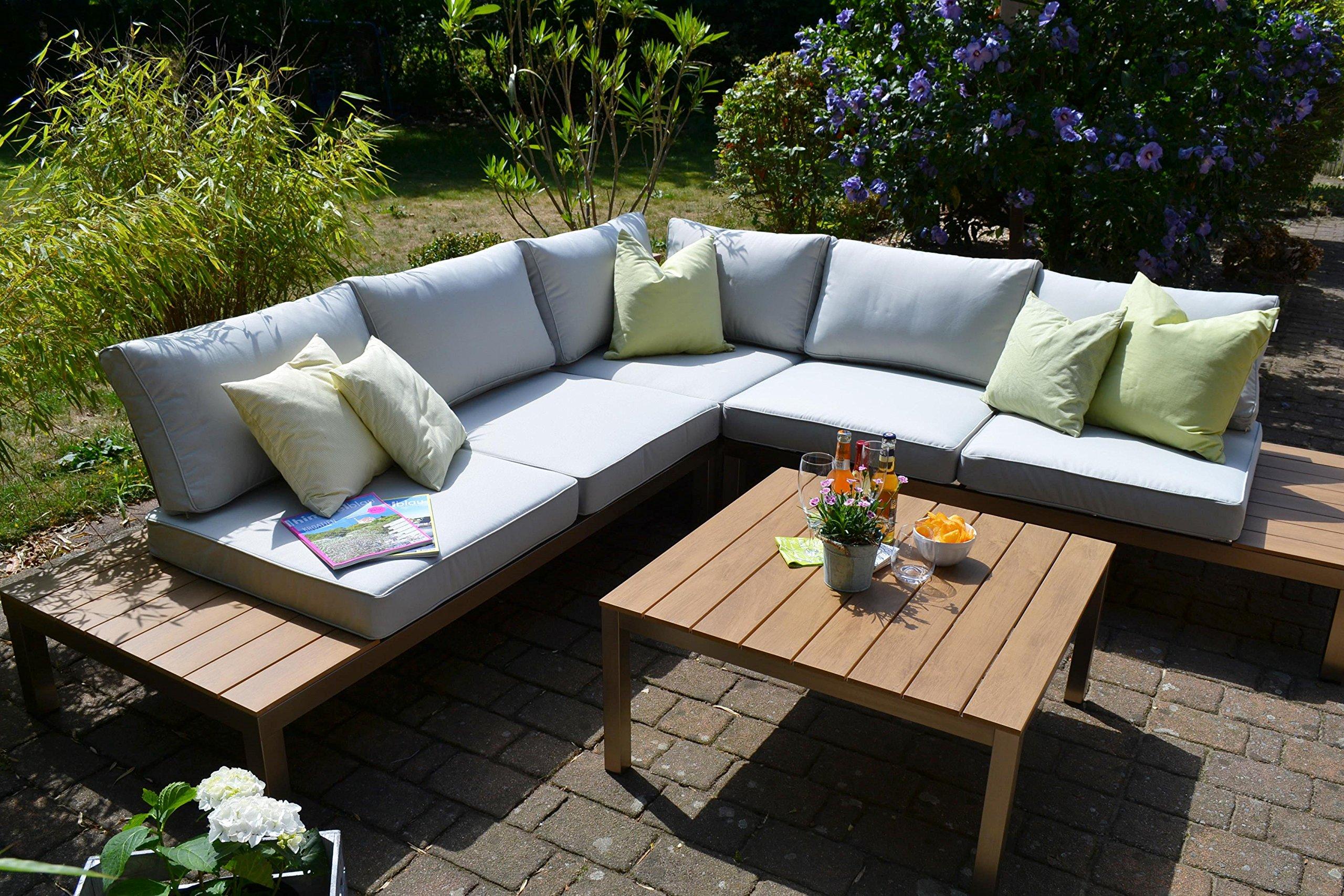 Bomey Aluminium Lounge Set I Gartenmobel Set Orlando 2 Teilig I Edelstahlbeschichtete Essgarnitur I Sitzgruppe Im Teak Holzdekor Tisch Polster I