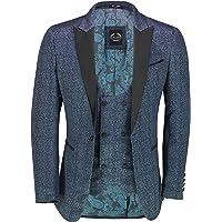 Xposed Mens Retro Printed Tuxedo Suit Jacket Black Peak Lapel Smart Tailored Fit Dinner Blazer & Waistcoat