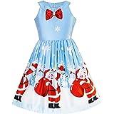 Sunny Fashion M/ädchen Kleid Weihnachten Weihnachtsm/ütze Lange /Ärmel Party Kleid Gr 110-146