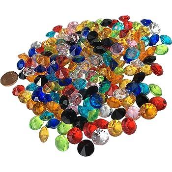 200 Stück 11mm glitzernde bunte Deko Diamanten Brillianten Strasssteine Acrylsteine transparent klar kristall basteln Gltzersteine Schmucksteine Strass Steine zum Verzieren Dekorieren von CRYSTAL KING